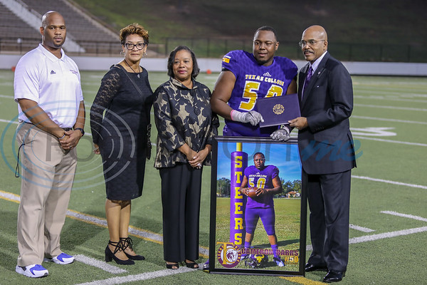 Texas College Senior Cameron Barrs celebrates his last home game at Christus Mother Frances Rose Stadium as a Steer. photo by John Murphy