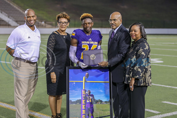 Texas College Senior Devonte McNamee celebrates his last home game as a Steer at Christus Mother Frances Rose Stadium in Tyler TX. photo by John Murphy