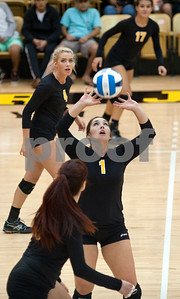 Tyler Junior College's Kellyn Reeves (1) sets the ball during their volleyball game at home against Navarro College Wednesday Oct. 28, 2015.  (Sarah A. Miller/Tyler Morning Telegraph)