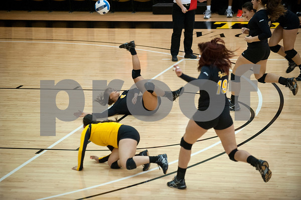 Tyler Junior College's Holland Fergurson flips over as she tries to save the ball during their volleyball game at home against Navarro College Wednesday Oct. 28, 2015.  (Sarah A. Miller/Tyler Morning Telegraph)