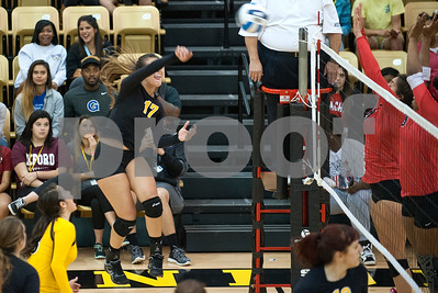 Tyler Junior College's Eileen Acuna spikes the ball during their volleyball game at home against Navarro College Wednesday Oct. 28, 2015.  (Sarah A. Miller/Tyler Morning Telegraph)