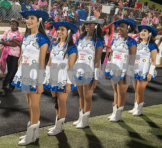 The John Tyler High School Brigadette captains line up to take the field during halftime of the football game Friday night at Christus Trinity Mother Frances Rose Stadium.  (Sarah A. Miller/Tyler Morning Telegraph)
