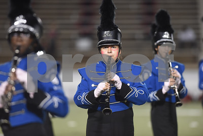 The John Tyler High School Big Blue Band performs during halftime of the football game Friday night against Mesquite Horn at Christus Trinity Mother Frances Rose Stadium.  (Sarah A. Miller/Tyler Morning Telegraph)