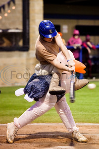 A Lindale player dressed as Steve Irwin hits the ball during the Lindale High School baseball Halloween game in Lindale Texas, on Tuesday, Oct. 30, 2018. Athletes played in Halloween costumes and kids were able to run the bases to collect candy before the game. (Chelsea Purgahn/Tyler Morning Telegraph)