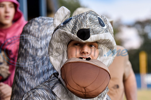 Lindale baseball player Matt Aubuchon as a squirrel during the Lindale High School baseball Halloween game in Lindale Texas, on Tuesday, Oct. 30, 2018. Athletes played in Halloween costumes and kids were able to run the bases to collect candy before the game. (Chelsea Purgahn/Tyler Morning Telegraph)