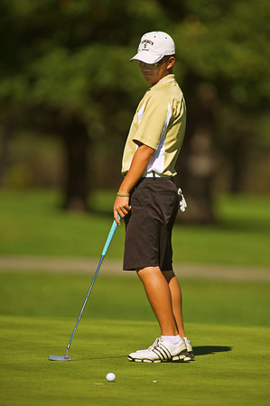 S1003GOLF1.jpg S1003GOLF1<br /> Legacy's Eric Chen reacts to a missed putt during the State Class 5A Golf Finals in Golden, Colorado where Chen took a tied second place on Tuesday, October 2nd, 2012.<br /> <br /> Photo by: Jonathan Castner