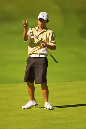 S1003GOLF2.jpg S1003GOLF2<br /> Legacy's Eric Chen reacts to a missed putt during the State Class 5A Golf Finals in Golden, Colorado where Chen took a tied second place on Tuesday, October 2nd, 2012.<br /> <br /> Photo by: Jonathan Castner