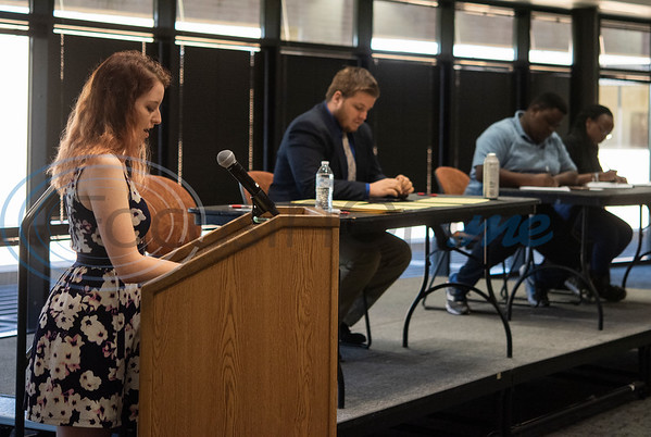 UT-Tyler's Melodie Lamborn gives her opening statement during an exhibition debate on Wednesday Oct. 3, 2018 between the University of Texas at Tyler's Patriot Debate Team and iRwanda, an NGO team from Rwanda that is touring the United States.  (Sarah A. Miller/Tyler Morning Telegraph)
