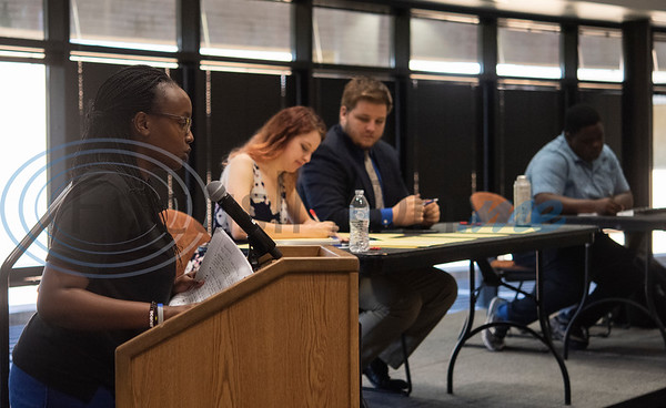 Kellia Kaneze, far left, speaks during an exhibition debate on Wednesday Oct. 3, 2018 between the University of Texas at Tyler's Patriot Debate Team and iRwanda, an NGO team from Rwanda that is touring the United States.  (Sarah A. Miller/Tyler Morning Telegraph)