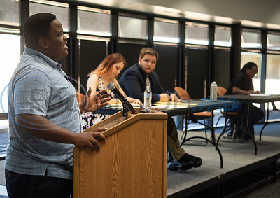 iRwanda's Ndayiyenga Mekha Rousseau gives his opening statement during an exhibition debate on Wednesday Oct. 3, 2018 between the University of Texas at Tyler's Patriot Debate Team and iRwanda, an NGO team from Rwanda that is touring the United States.  (Sarah A. Miller/Tyler Morning Telegraph)
