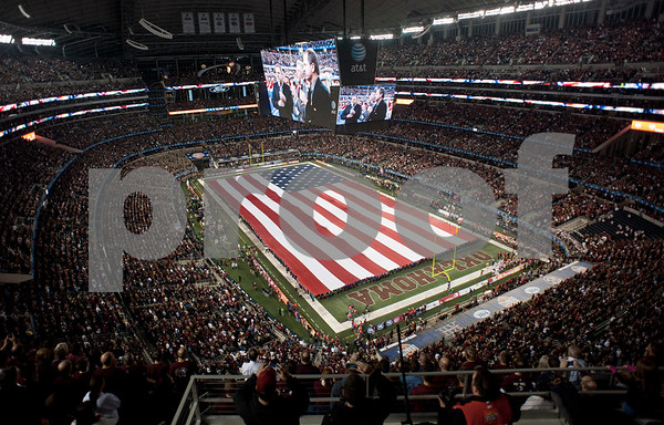 photo by Sarah A. Miller/Tyler Morning Telegraph National Anthem at the Cotton Bowl at Cowboys Stadium in Arlington Friday night.