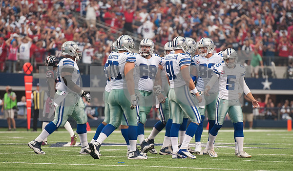 photo by Sarah A. Miller/Tyler Morning Telegraph  Dallas Cowboy's kicker Dan Bailey (5) reacts after missing a field goal putting their game against the Houston Texans into overtime Sunday Oct. 5, 2014 at AT&T Stadium in Arlington.