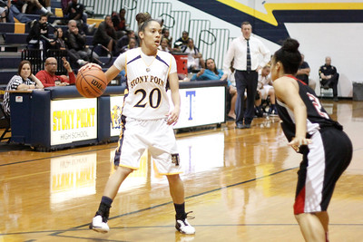 Stony Point's Chelsea Edwards looks for an open teammate against Vista Ridge Monday at Stony Point High School.