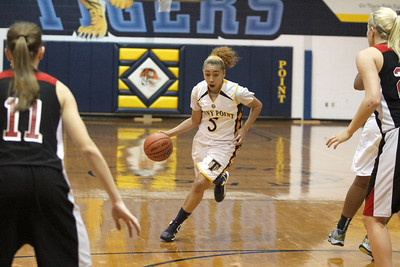 Stony Point's Autumn Arine drives to the hoop against Vista Ridge Monday at Stony Point High School.