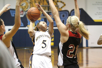 Stony Point's Autumn Arine attempts a layup against Vista Ridge Monday at Stony Point High School.