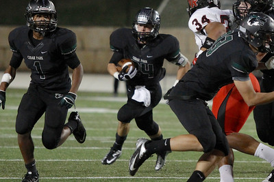 Cedar Park's Nathan Harwell makes a run against Vista Ridge  Friday at Gupton Stadium.