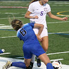 Hillary Mihalik of Avon and Caylee Jozefov collide near the sideline during the first half. Randy Meyers -- The Morning Journal