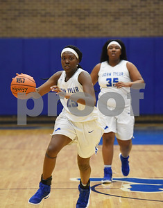 John Tyler's Daz Johnson dribbles the ball as the Lady Lions play Mesquite Horn at home Tuesday Jan. 10, 2017.  (Sarah A. Miller/Tyler Morning Telegraph)