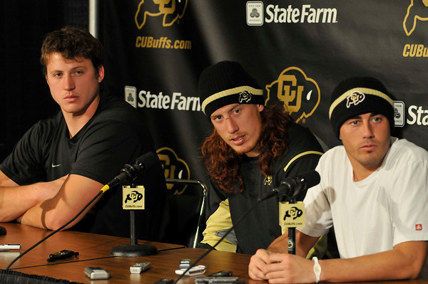 University of Colorado football team captains, from left, Nate Solder, BJ Beatty, and Scotty McKnight respond to questions at a news conference about the replacement of CU head football coach Dan Hawkins with Coach Brian Cabral on Tuesday, Nov. 9, 2010 in Boulder, Colo.<br /> Cameron Redwine/Camera