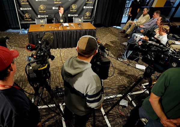 Athletic Director Mike Bohn talks to the media about the firing of Dan Hawkins and announces the search for Hawkins replacement during a press conference announcing his leaving the program at the University of Colorado in Boulder, Colorado November 9, 2010.  CAMERA/Mark Leffingwell