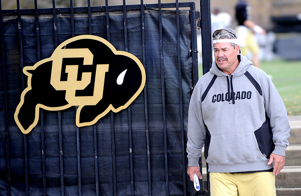 Brian Cabral, Interim Head Coach, leaves the football practice field after the morning workout at the University of Colorado in Boulder, Colorado November 9, 2010.  Dan Hawkins has been fired at the Head Coach and Cabral is filling in. CAMERA/Mark Leffingwell