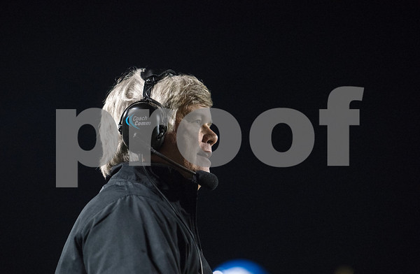 Grace Community School's head football coach Norm Thompson watches a play from the sidelines during the Grace Community School football game at home against The Brook Hill School Friday Nov. 10, 2017.  (Sarah A. Miller/Tyler Morning Telegraph)