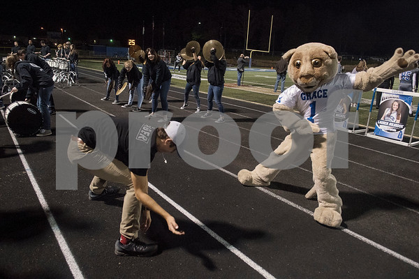 Champ the cougar mascot dances after a touchdown in the second quarter of the Grace Community School football game at home against The Brook Hill School.  (Sarah A. Miller/Tyler Morning Telegraph)
