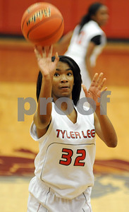photo by Sarah A. Miller/Tyler Morning Telegraph  Robert E. Lee's D. Thomas shoots a free-throw during their game Tuesday night against Hallsville in Tyler.