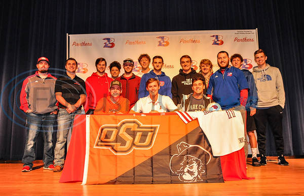 Bullard baseball player Colton Bowman is all smiles at his signing to Oklahoma State University. Bowman was accompanied on stage by present and former Bullard baseball players and Bullard baseball Coaches Brock Lemire and Caleb Gibson. (Jessica T. Payne/Tyler Morning Telegraph)