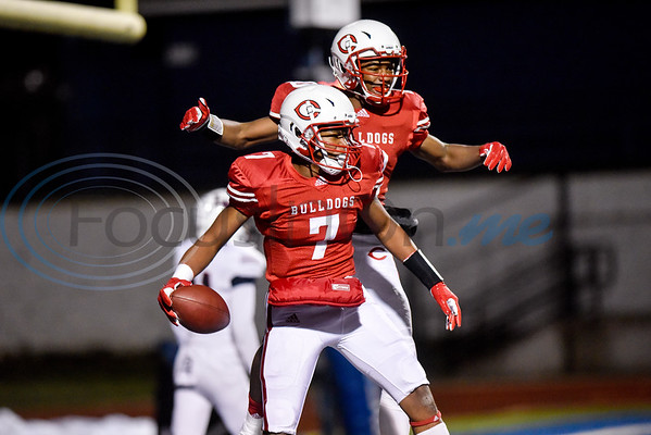 Carthage's Kel Williams (7) and Kelvontay Dixon (10) celebrate Williams' touchdown during a high school football playoff game in Lindale, Texas, on Thursday, Nov. 15, 2018. (Chelsea Purgahn/Tyler Morning Telegraph)