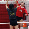 Jesse Lee of Elyria and Miss Volleyball of 2016 spikes the ball towards Alana Carrion of Amherst during the North vs South match. Randy Meyers -- The Morning Journal