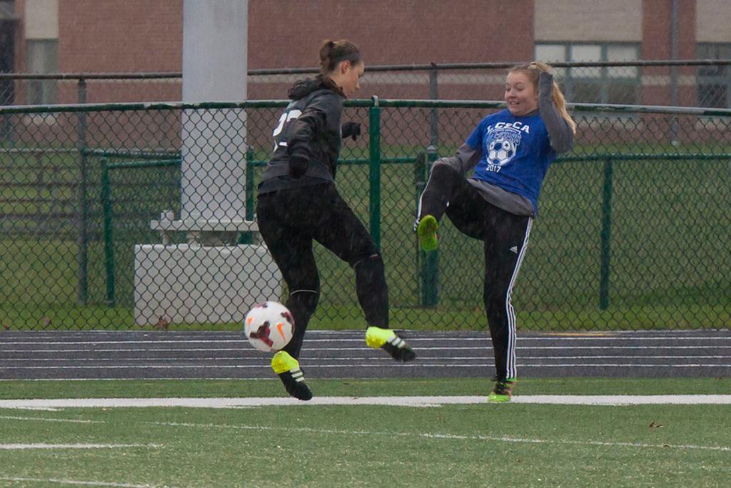 . Welllington\'s Victoria Horoschak on the Grey team stops the ball. Jen Forbus --The Morning Journal