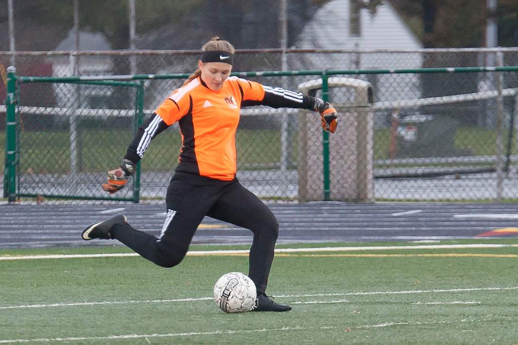 . Midview\'s Ashley Callaway in goal for the Grey team, gives the ball a boot. Jen Forbus -- The Morning Journal