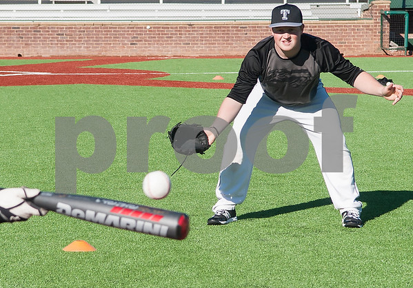 Tyler Junior College baseball player Jonathan Groff pitches on the new turn at Mike Carter Field Tuesday Jan. 12, 2016. The baseball team started their first season practices this week.   (Sarah A. Miller/Tyler Morning Telegraph)