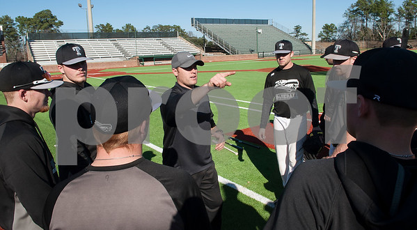 Tyler Junior College baseball team coach Doug Wren instructs his players as they use the brand new turf at Mike Carter Field Tuesday Jan. 12, 2016. The baseball team started their first season practices this week.   (Sarah A. Miller/Tyler Morning Telegraph)