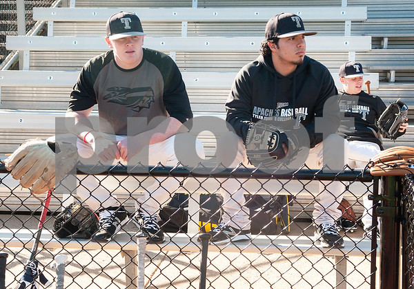 Tyler Junior College baseball players James Phillips and Jared Wells wait for practice to start at Mike Carter Field Tuesday Jan. 12, 2016. The baseball team started their first season practices this week.   (Sarah A. Miller/Tyler Morning Telegraph)