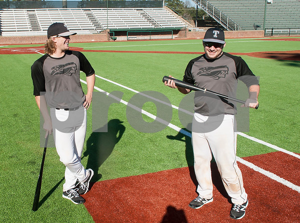 Tyler Junior College baseball players J.P. Gorby and Austin Ballew stand on the new turf at Mike Carter Field as they wait for practice to start Tuesday Jan. 12, 2016. The baseball team started their first season practices this week.   (Sarah A. Miller/Tyler Morning Telegraph)