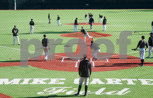 The Tyler Junior College baseball team practices on the new turf at Mike Carter Field Tuesday Jan. 12, 2016. The baseball team started their first season practices this week.   (Sarah A. Miller/Tyler Morning Telegraph)