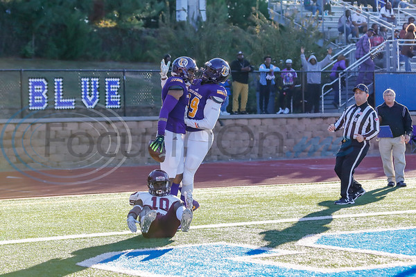 Texas College #89 Devin Bradford congratulates Keyshawn Henderson touchdown reception.  photo by John Murphy