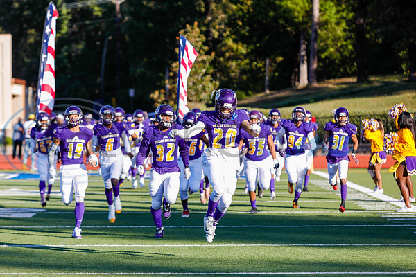 Texas College #20 Desmond Luster leads the Steers onto the field.  At Mewbourne Firled in Tyler Texas.  photo by John Murphy