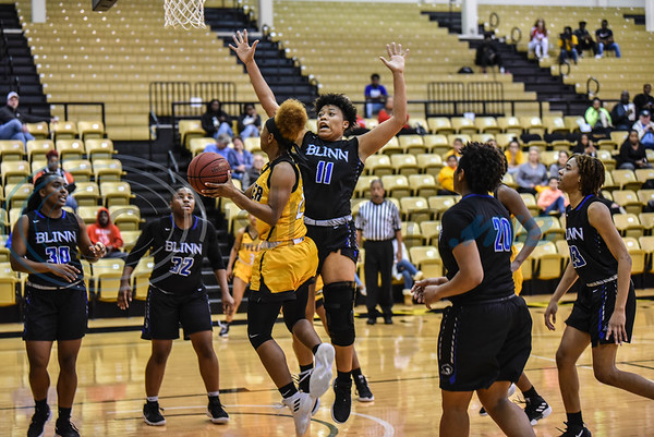Lady Apache Quatera Limbrick (24) goes up for a shot during a game against Blinn College on Saturday, January 12. Tyler Junior College won at home 71-49. (Jessica T. Payne/Tyler Morning Telegraph)