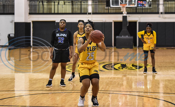 Kierra Brimzy (25) of Tyler Junior College shoots a free throw during a game against Blinn College on Saturday, January 12. The Apaches went on to beat the Buccaneers at home 71-49. (Jessica T. Payne/Tyler Morning Telegraph)