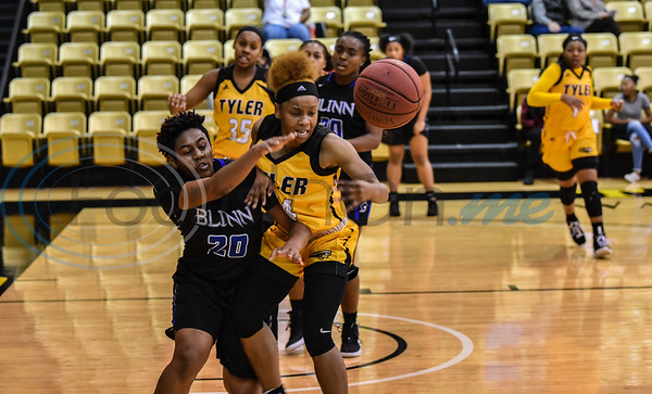Quatera Limbrick (24) and Mariel Wade (20) race for the ball during a game on Saturday, January 12. Tyler Junior College beat Blinn College at Wagstaff Gymnasium 71-49. (Jessica T. Payne/Tyler Morning Telegraph)