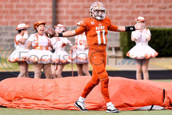 Kemp quarterback Cameron Clamon (11) and drill team members celebrate his touchdown during a high school football playoff game at Christus Trinity Mother Frances Rose Stadium in Tyler, Texas, on Friday, Nov. 23, 2018. (Chelsea Purgahn/Tyler Morning Telegraph)