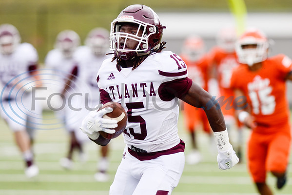 Atlanta wide receiver Joshua Edwards (15) runs the ball for a touchdown during a high school football playoff game at Christus Trinity Mother Frances Rose Stadium in Tyler, Texas, on Friday, Nov. 23, 2018. (Chelsea Purgahn/Tyler Morning Telegraph)