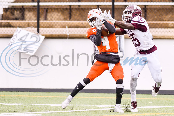 Kemp defensive back Jaise Bowie (4) intercepts the ball intended for Atlanta wide receiver Joshua Edwards (15) during a high school football playoff game at Christus Trinity Mother Frances Rose Stadium in Tyler, Texas, on Friday, Nov. 23, 2018. (Chelsea Purgahn/Tyler Morning Telegraph)