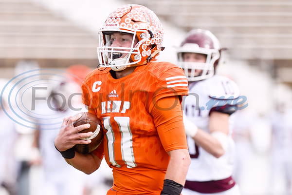 Kemp quarterback Cameron Clamon (11) runs the ball for a touchdown during a high school football playoff game at Christus Trinity Mother Frances Rose Stadium in Tyler, Texas, on Friday, Nov. 23, 2018. (Chelsea Purgahn/Tyler Morning Telegraph)