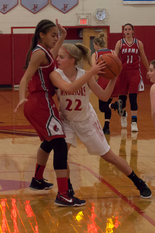 . Parma\'s Amaris DeJesus blocks the way for Fairview\'s Meghan Weir. Jen Forbus -- The Morning Journal