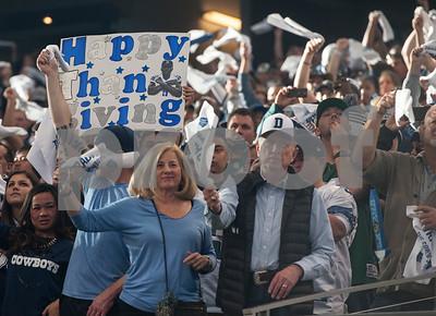 photo by Sarah A. Miller/ Tyler Morning Telegraph  Football fans cheer during the Dallas Cowboys football game held on Thanksgiving Thursday Nov. 27, 2014 at AT&T Stadium in Arlington.