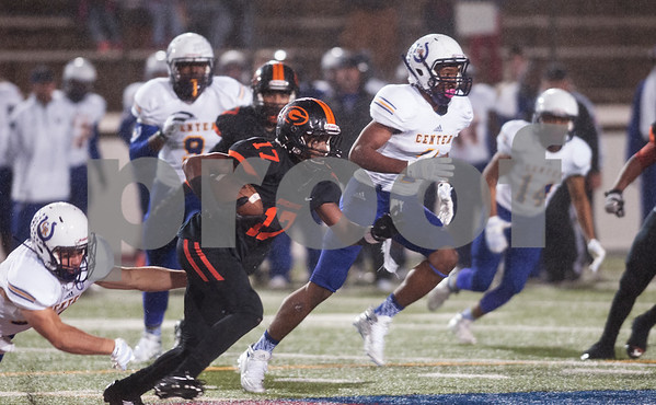 Gilmer's (17) Desmond Jones carries the ball during their game Friday night against Center Nov. 27, 2015 at Trinity Mother Frances Rose Stadium in Tyler.  (Sarah A. Miller/Tyler Morning Telegraph)